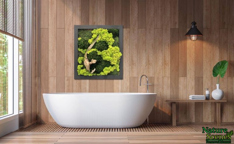 Wood Bathroom Tub with Framed MossArt