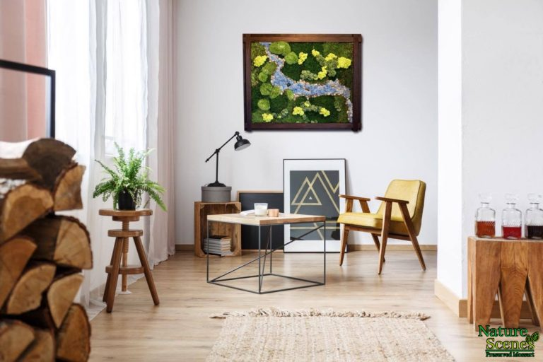 Living Space with Framed MossArt