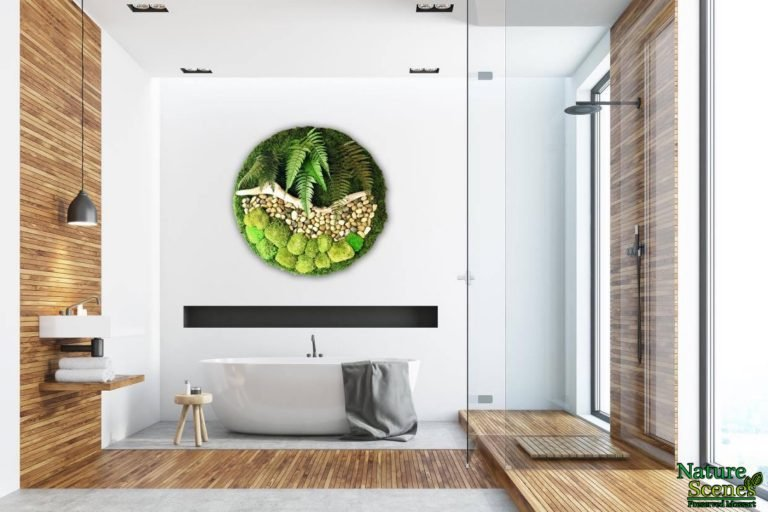 Bathtub Modern MossArt Circle Framed