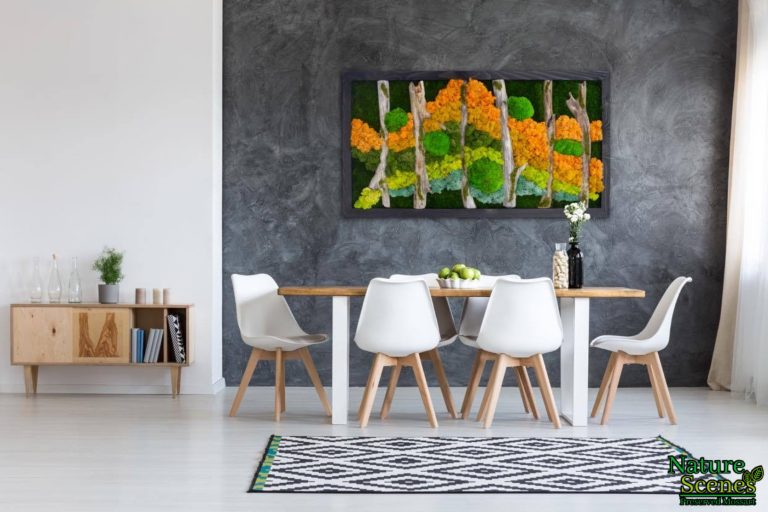 Modern Dining Area with Framed MossArt