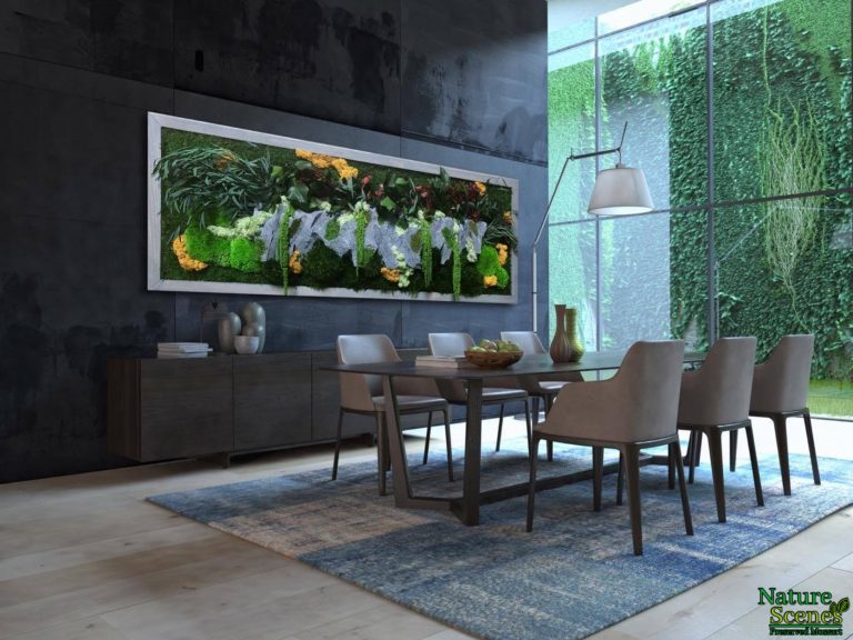 Dining Room with Framed Moss Art